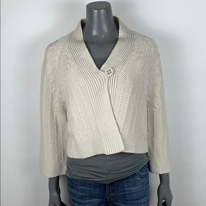 CAbi Chunky Cabled Knit Cropped Cardigan Medium